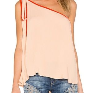 NWT Free People top with one shoulder w bow peach
